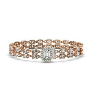 13.04 ctw Emerald Cut & Oval Diamond Bracelet 18K Rose