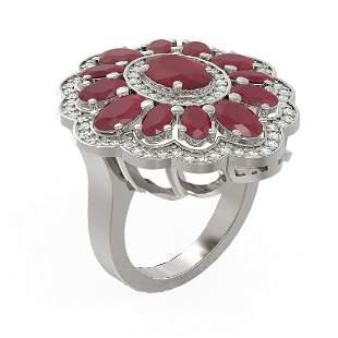 8.61 ctw Ruby & Diamond Ring 18K White Gold -