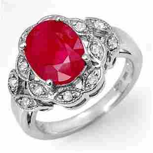 3.50 ctw Ruby & Diamond Ring 18k White Gold - REF-89R3K