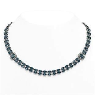 37.96 ctw London Topaz & Diamond Necklace 14K White
