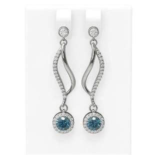 1.86 ctw Intense Blue Diamond Earrings 18K White Gold -