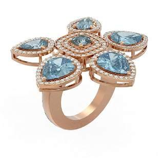 13.10 ctw Blue Topaz Diamond Ring 18K Rose Gold -