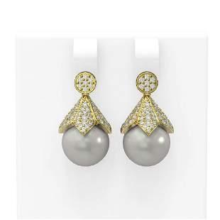 1.56 ctw Diamond & Pearl Earrings 18K Yellow Gold -