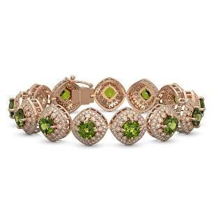 33.05 ctw Tourmaline & Diamond Victorian Bracelet 14K