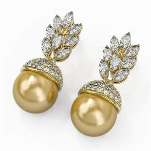 5.78 ctw Marquise Diamond & Pearl Earrings 18K Yellow
