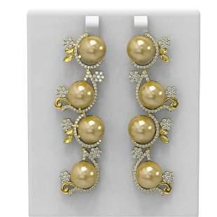 4.12 ctw Diamond & Pearl Earrings 18K Yellow Gold -