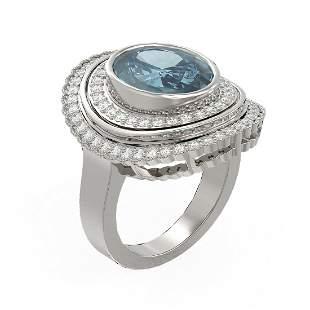 6.26 ctw Blue Topaz & Diamond Ring 18K White Gold -