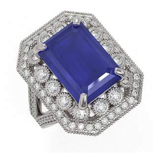 11.98 ctw Certified Sapphire & Diamond Victorian Ring