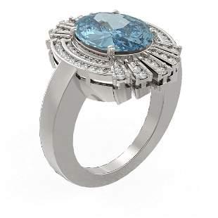 6.52 ctw Blue Topaz & Diamond Ring 18K White Gold -
