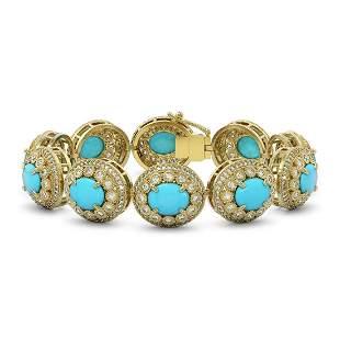 38.17 ctw Turquoise & Diamond Victorian Bracelet 14K