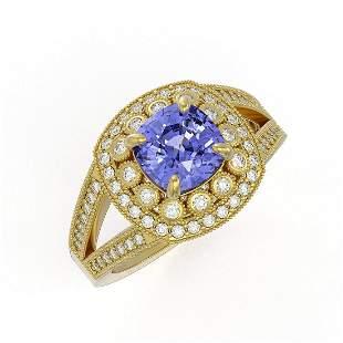 2.74 ctw Certified Tanzanite & Diamond Victorian Ring