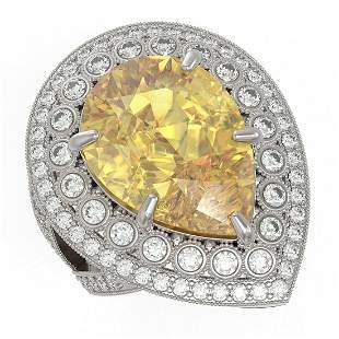 17.38 ctw Canary Citrine & Diamond Victorian Ring 14K