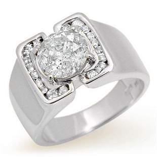 2.08 ctw Certified Diamond Men's Ring 14k White Gold -