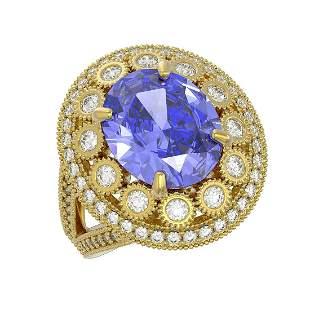 6.96 ctw Certified Tanzanite & Diamond Victorian Ring