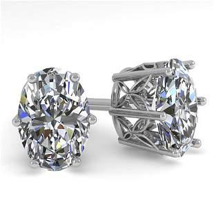 1.0 ctw Certified VS/SI Oval Diamond Stud Earrings 18k