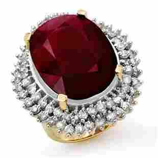 31.12 ctw Ruby & Diamond Ring 14k Yellow Gold -