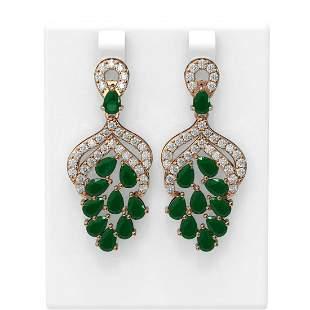 13.02 ctw Emerald & Diamond Earrings 18K Rose Gold -