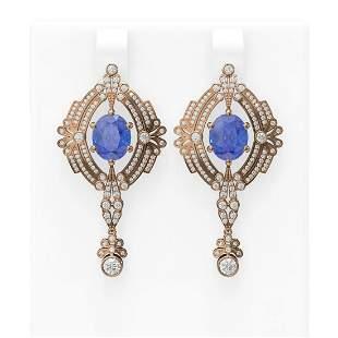11.29 ctw Tanzanite & Diamond Earrings 18K Rose Gold -