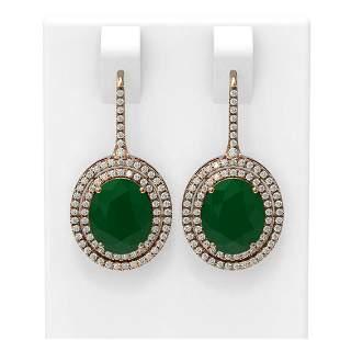 9.12 ctw Emerald & Diamond Earrings 18K Rose Gold -