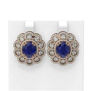 12.21 ctw Sapphire & Diamond Earrings 18K Rose Gold -