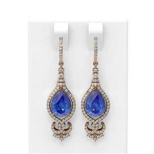 7.43 ctw Tanzanite & Diamond Earrings 18K Rose Gold -