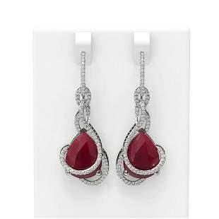 22.9 ctw Ruby & Diamond Earrings 18K White Gold -