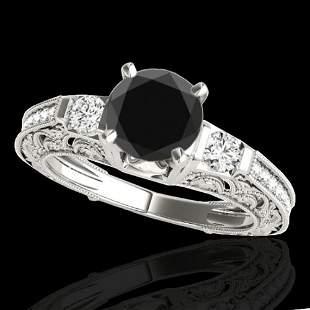 1.38 ctw Certified VS Black Diamond Solitaire Antique