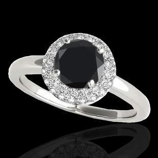 1.43 ctw Certified VS Black Diamond Solitaire Halo Ring
