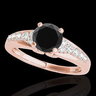 1.40 ctw Certified VS Black Diamond Solitaire Ring 10k