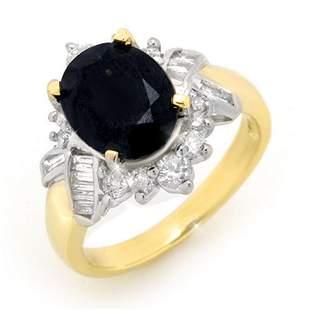 4.40 ctw Blue Sapphire & Diamond Ring 14k Yellow Gold -