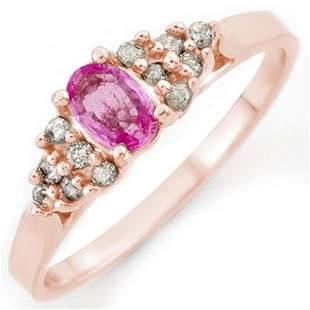 0.74 ctw Pink Sapphire & Diamond Ring 14k Rose Gold -