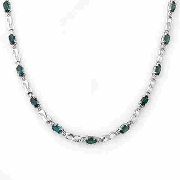 9.02 ctw Blue Sapphire & Diamond Necklace 10k White