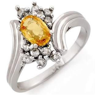 1.0 ctw Yellow Sapphire & Diamond Ring 18k White Gold -