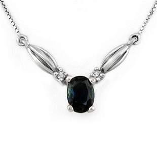 1.30 ctw Blue Sapphire & Diamond Necklace 10k White