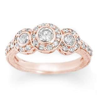 1.25 ctw Certified VS/SI Diamond Ring 14k Rose Gold -