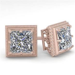 1.0 ctw VS/SI Princess Diamond Stud Earrings Art Deco