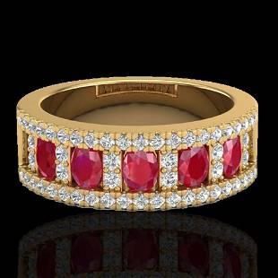 2.34 ctw Ruby & Micro Pave VS/SI Diamond Designer Ring