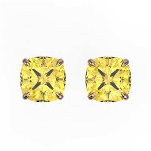 3 ctw Cushion Cut Citrine Designer Stud Earrings 14k
