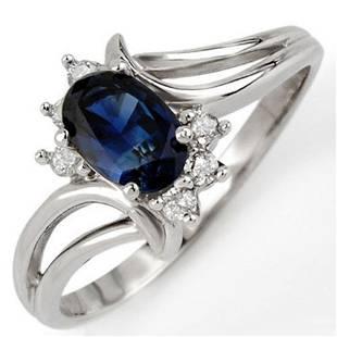 0.70 ctw Blue Sapphire & Diamond Ring 14k White Gold -
