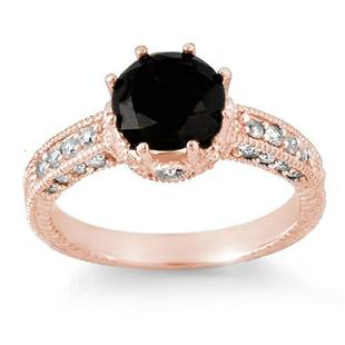 2.0 ctw VS Certified Black & White Diamond Ring 14k