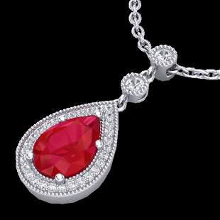 2.75 ctw Ruby & Micro Pave VS/SI Diamond Necklace 18k
