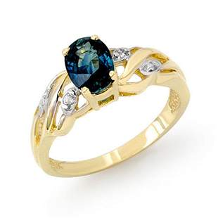 1.13 ctw Blue Sapphire & Diamond Ring 10k Yellow Gold -