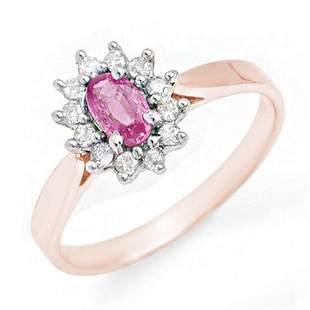 0.83 ctw Pink Sapphire & Diamond Ring 18k Rose Gold -
