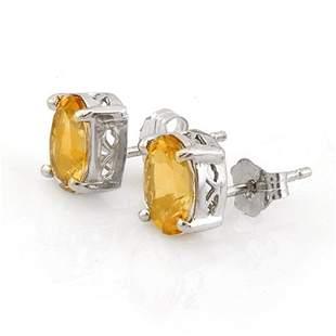 1.50 ctw Citrine Earrings 14k White Gold - REF-8R3K
