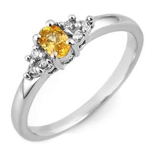 0.44 ctw Yellow Sapphire & Diamond Ring 18k White Gold