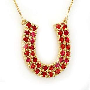 2.0 ctw Red Sapphire Necklace 10k Yellow Gold -