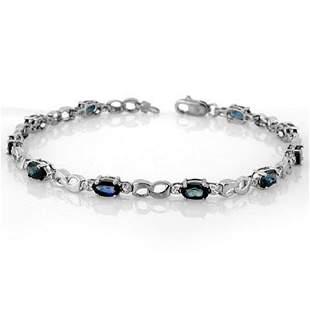 3.51 ctw Blue Sapphire & Diamond Bracelet 18k White