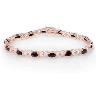 10.81 ctw Blue Sapphire & Diamond Bracelet 18k Rose