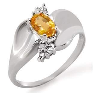 0.79 ctw Yellow Sapphire & Diamond Ring 18k White Gold