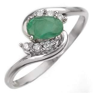 0.60 ctw Emerald & Diamond Ring 18k White Gold -